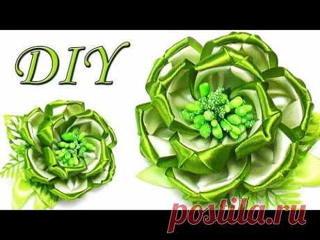 Цветы из лент мастер-класс 🌸 Ribbon Flowers tutorial 🌸 Kanzashi Tatiana Vasyliuk