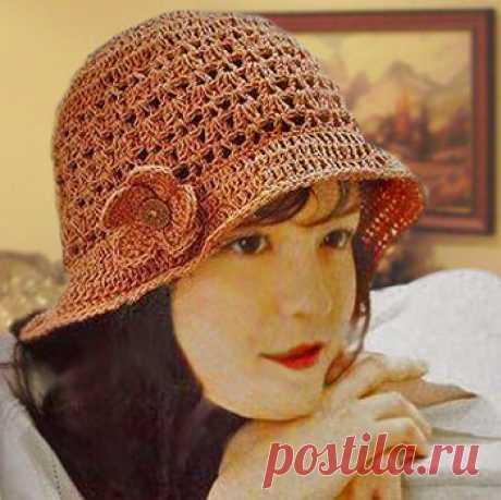 Стильное Ретро — летняя шляпка крючком   ВЯЗАНИЕ ШАПОК: женские шапки спицами и крючком, мужские и детские шапки, вязаные сумки