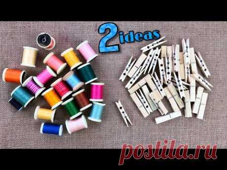 2 крутых идеи, которые можно сделать с деревянными прищепками и нитками для вышивания