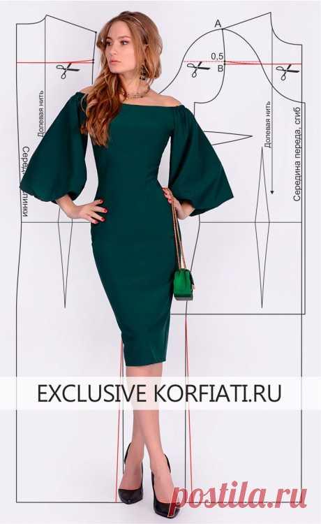 Вкройка платья с широкими рукавами от Анастасии Корфиати Широкие рукава - тренд сезона. Такой стиль акцентирует внимание на фигуре и делает ее изящной. Выкройка платья с широкими рукавами и открытой линией плеч.
