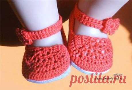 Вязаные туфельки для Baby Born