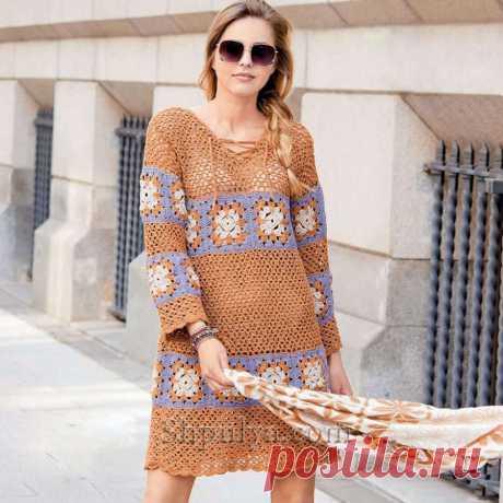 Вязаное крючком платье с квадратными вставками — Shpulya.com - схемы с описанием для вязания спицами и крючком