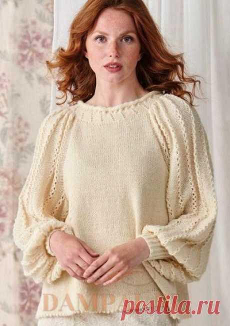 Белый пуловер «Leontyne»спицами