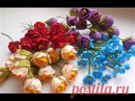 МК Мелкие цветочки из фоамирана для веночков и ободочков.