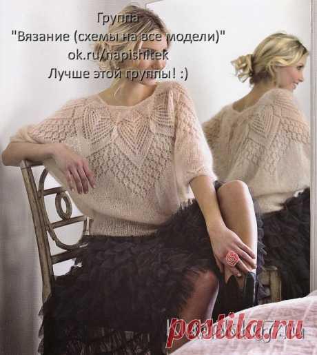 Красивая блуза из мохера на круглой кокетке