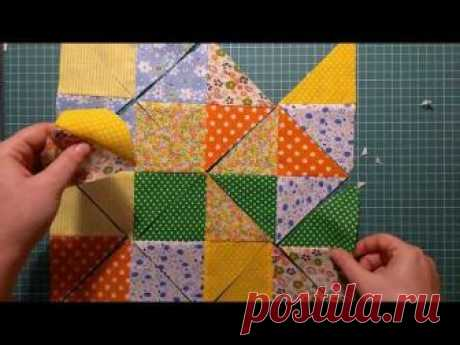 "Patchwork for beginners. 4 ways to turn squares into the ""песочные часы&quot block; by the accelerated method"