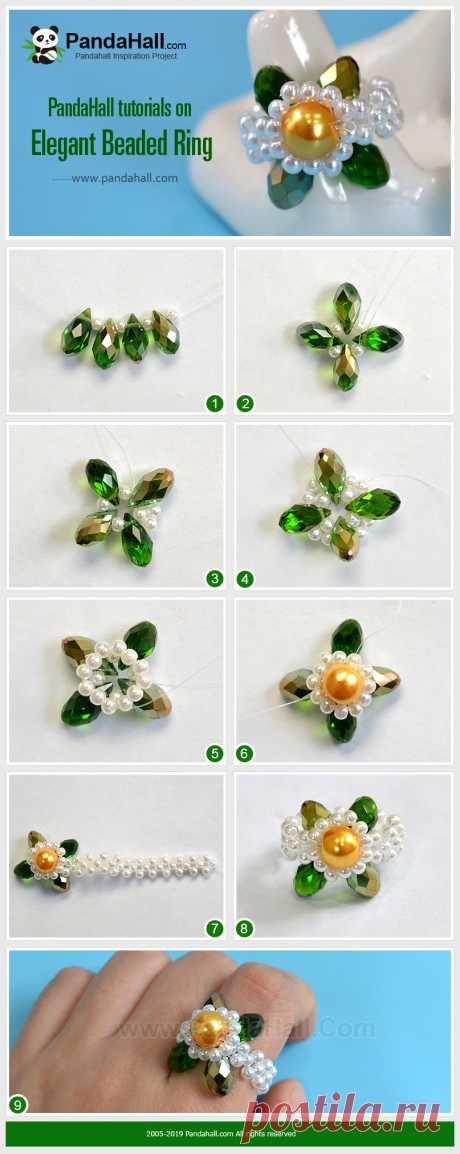 Элегантный Бисером Кольцо Это особое кольцо. Мы используем стеклянные бусины и жемчуг для создания формы цветка, которая идеально подходит для летней одежды. Приходите и сделайте это кольцо, чтобы приветствовать лето.