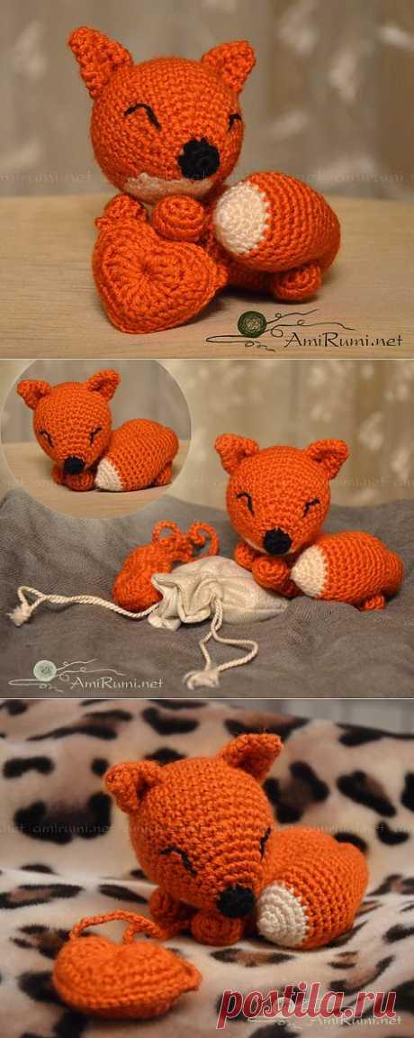 Лисичка с сердечком • АмиРуми - Всё о вязанных игрушках амигуруми