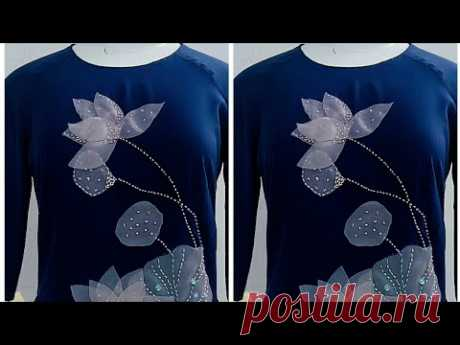 124-Hướng dẫn làm hoa sen trang trí lên áo dài