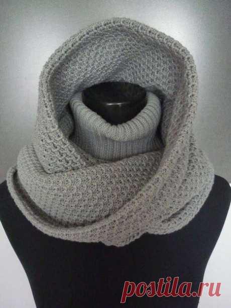 Удобный зимний аксессуар - шарф-капюшон