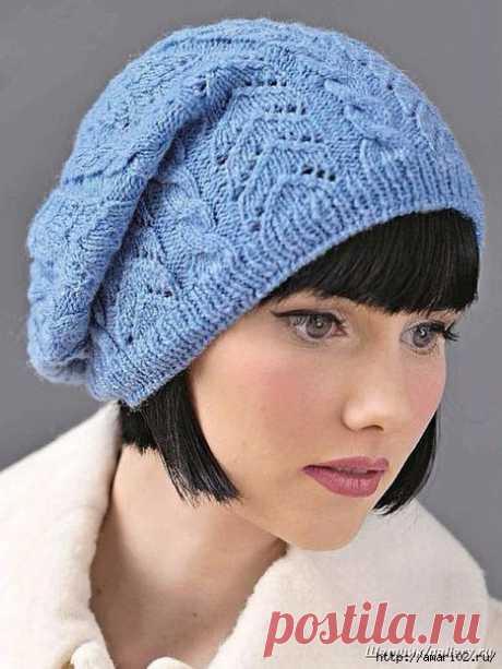 Вяжем ажурную шапку с косами.