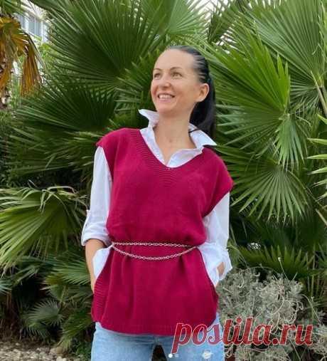 Простой жилет для женщин спицами, Вязание для женщин