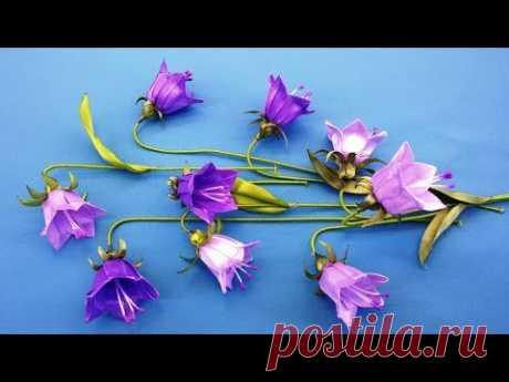 Ribbons flowers bells.DIY/Campanas flores de cintas/Колокольчики из лент