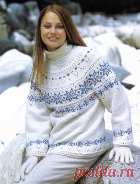 Жаккардовые пуловеры с круглой кокеткой спицами   Рукоделие