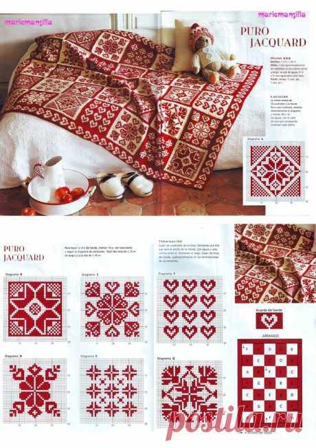 Жаккард с сердцами спицами из старого журнала + небольшая подборка | 38 рукоделок | Яндекс Дзен