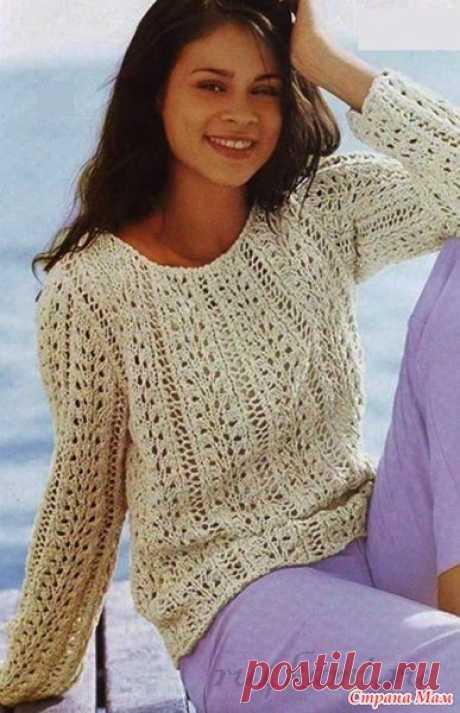 . Ажурный пуловер спицами - Вязание - Страна Мам