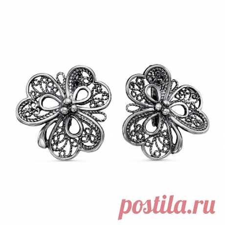 Серьги 33010958 серебро, без вставок, производитель Красная Пресня - купить в интернет-магазине Серебряная птица