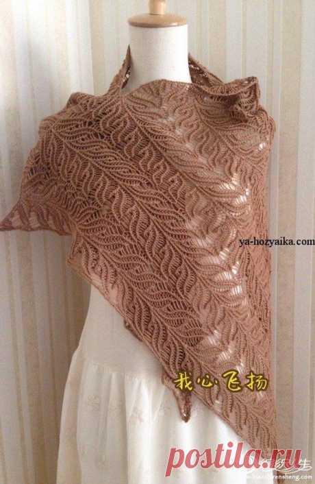 Ажурный платок спицами.. Схемы вязания платков спицами Ажурный платок спицами очень красивым узором. Схемы вязания платков спицами