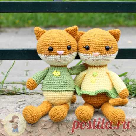 PDF Пара котят схема крючком #схемыамигуруми #амигуруми #вязаныйкот #вязаныеигрушки #amigurumipattern #crochetcat #amigurumicat