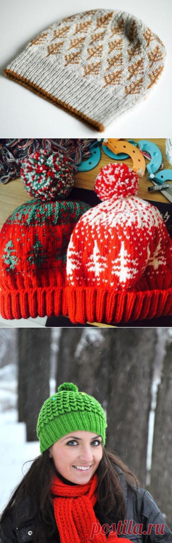 Вяжем спицами шапки с елками – 4 схемы с описанием