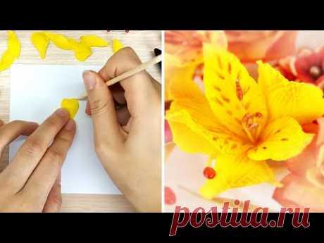 Альстромерия из фоамирана /Цветы для скрапбукинга и украшений ручной работы/Foamiran alstroemeria