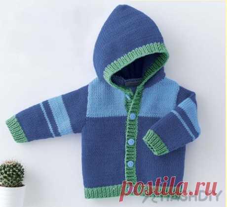 Вязаная кофта с капюшоном для малыша Вязаная кофта с капюшоном для малышаТакую кофточку можно связать как из хлопка, так и из шерсти, тогда ее можно будет носить в межсезонье.РАЗМЕРЫ3 (6) 12 (18) 24 месяца ВАМ ПОТРЕБУЕТСЯПряжа Phil Coton 4 (100% хлопка; 85 м/50 г) – 1 (2) 2 (2) 2 мотка лазурной (FAIENCE); 3 (4) 4 (5) 5 мотков