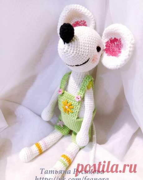 Мышка озорная амигуруми. Схемы и описания для вязания игрушек крючком! Бесплатный мастер-класс от Татьяны Русаковой по вязанию озорной мышки крючком. Высота вязаного мышонка примерно 30 см. Для изготовления игрушки автор…