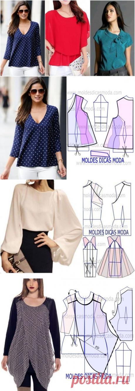 Элегантные блузы и футболки с легким кроем. Выкройки прилагаются