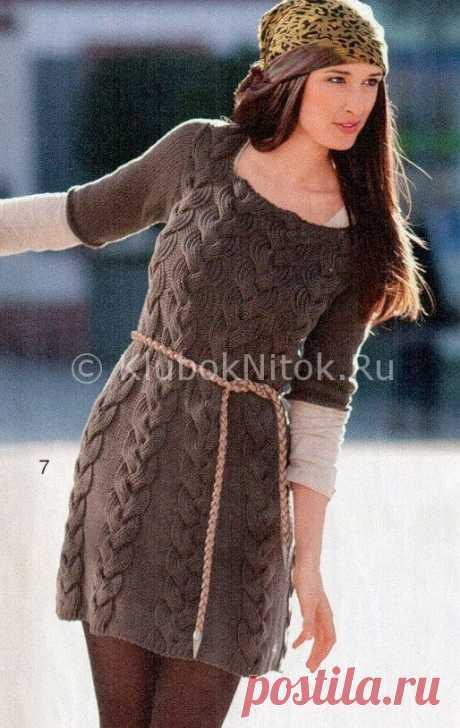 Мини-платье с косами | Вязание для женщин | Вязание спицами и крючком. Схемы вязания.