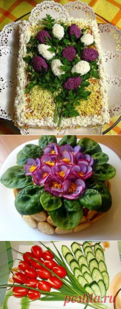 Топ-10 рецептов праздничных салатов-цветов к 8 марта - Простые рецепты Овкусе.ру