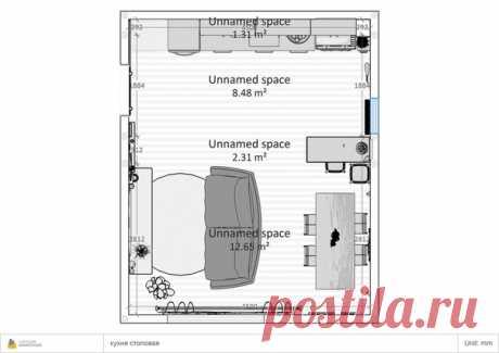 """Первый дизайн-проект: кухня-гостиная 5.5 * 4.5 кв. м. """"СВЕТЛЫЙ ЛОФТ"""" от студии Aleks Gips"""