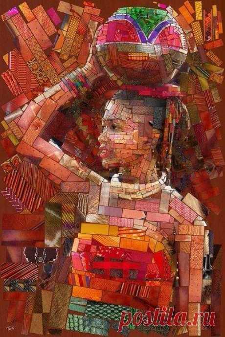Лица Африки: атмосферная мозаика, в визуальной основе которой лежат виды с высоты птичьего полета на трущобные районы Африки, совмещенные с характерными узорами африканских народов. Проект Чариса Тевеса.