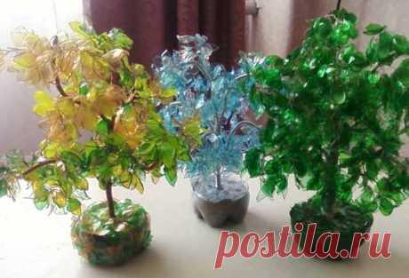Красивое дерево из пластиковой бутылки