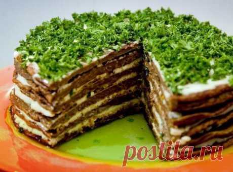Как приготовить самый вкусный печёночный тортик! - рецепт, ингредиенты и фотографии