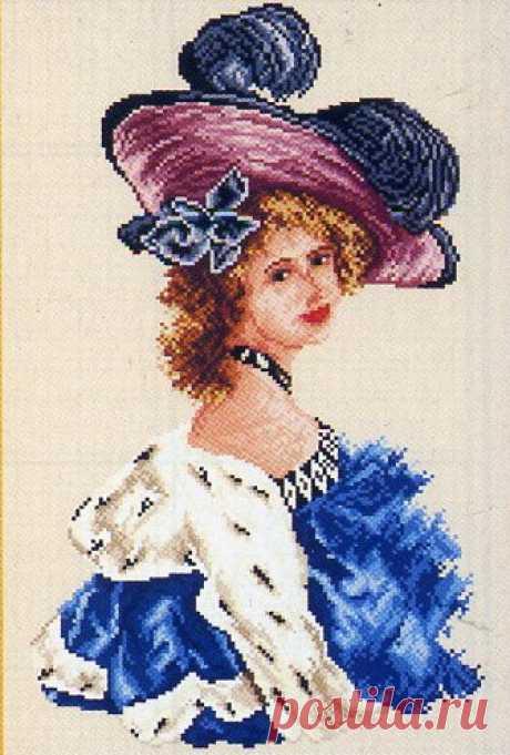 Вышивка крестиком дама в шляпе. Женские портреты схемы для вышивки