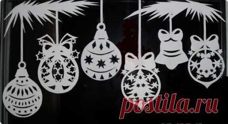 Новогоднее украшение окон (трафареты в натуральную величину) | Julialime | Яндекс Дзен