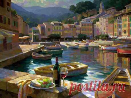 Бутылка вина на открытой террасе... Художник Leon Roulette  Художник Leon Roulette родом из Южной Калифорнии, где родился в 1959 году. Рисует с малых лет, любит работать на открытом воздухе. Секреты художественного мастерства познавал благодаря частным урокам…