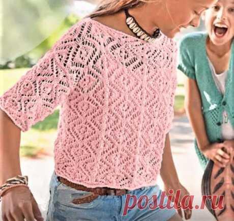 Простой способ связать спицами ажурную кофточку для девочки-подростка   Идеи рукоделия   Яндекс Дзен