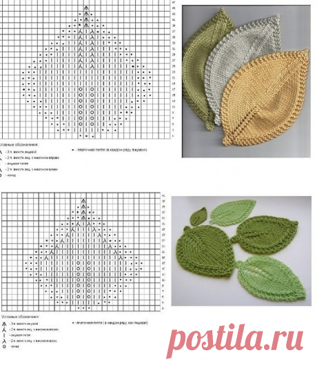Сочные листики - подставки под горячее, вяжем спицами из категории Интересные идеи – Вязаные идеи, идеи для вязания