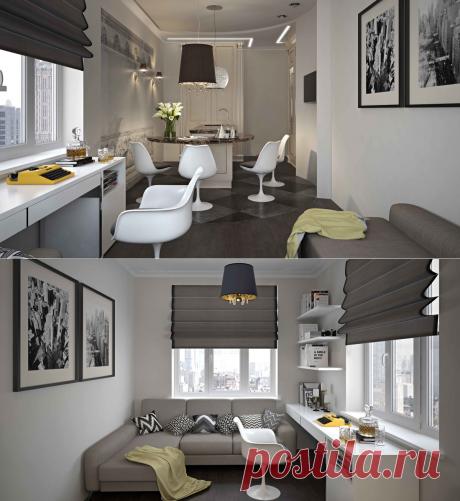 32 квадратных метра: спальня, кухня, гардероб, санузел и рабочая зона – Roomble.com