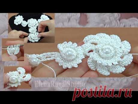 Цветы крючком в шнуре для украшения Урок 142 Мастер класс