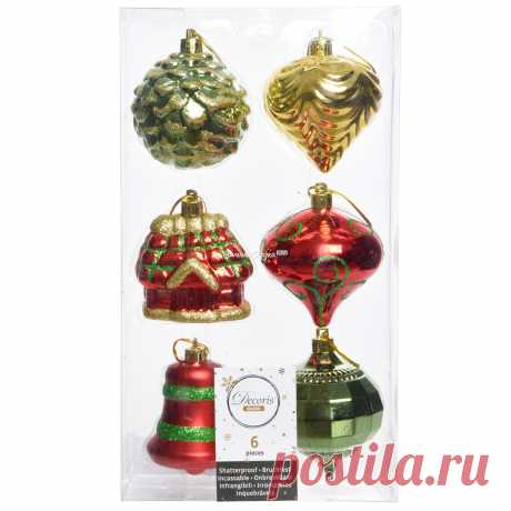 Set of Christmas Ornaments Christmas Mix 6 cm, 6 PCs, Pendants (Kaemingk) Set of Christmas Ornaments Christmas Mix 6 cm, 6 PCs, Pendants (Kaemingk)  Article: ID48083  A country: Netherlands  Production: China  Three-dimensional droplets, cones, a Christmas bell and a fairy-tale house-all the attributes of a winter ho...