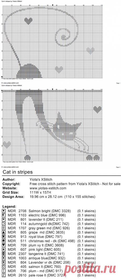 Cat in stripes free cross stitch pattern   Yiotas XStitch