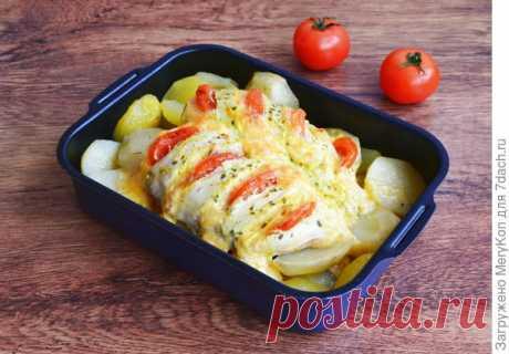 """Куриная грудка с картофелем """"Гармошка"""" в духовке. Рецепт + фото"""
