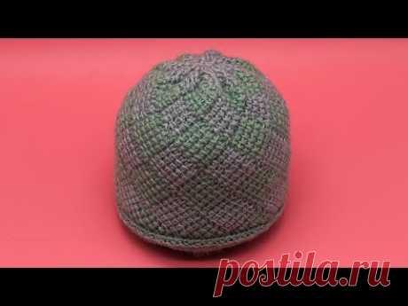 Шапка узором энтерлак тунисским крючком. Crochet hat. Enterlak. Tunisian crochet.