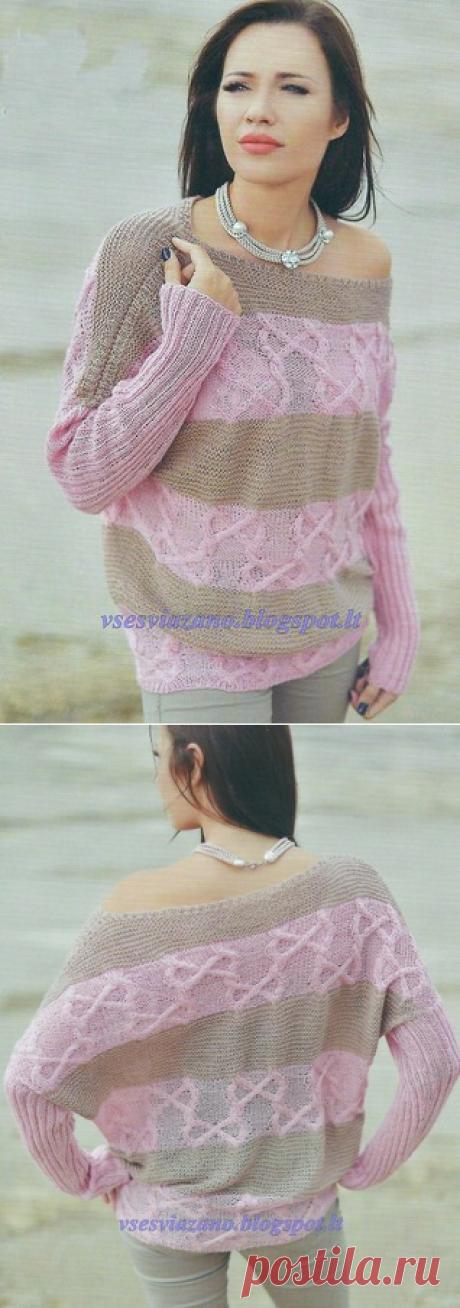 Тонкий но теплый пуловер-наволочка с аранами и полосами.