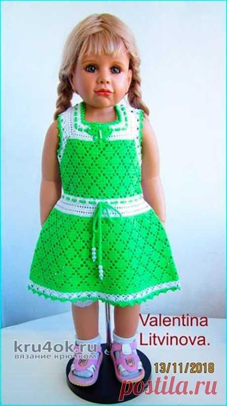 Платье для девочки Алиса, связано крючком. Работа Валентины Литвиновой
