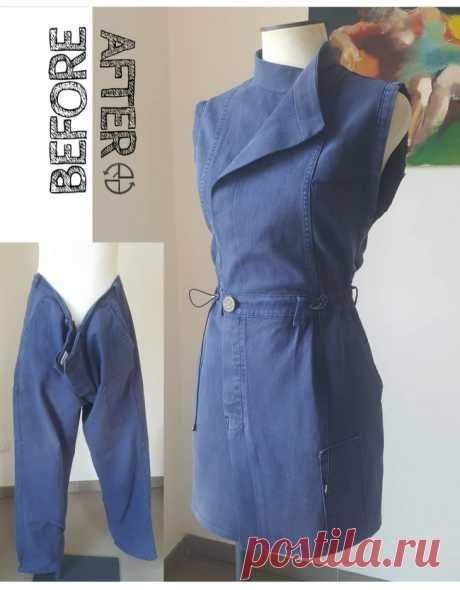 Платье-жилет из джинсов
