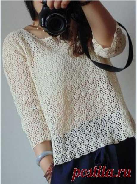 Очень элегантный ажурный пуловер, который обязательно привлечет к себе внимание — HandMade