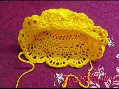 Шапка-панама детская крючком.Beanie baby crochet